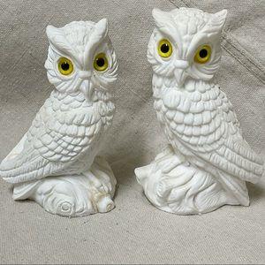 Vintage Italian Carved Alabaster Owl Set RESCUE